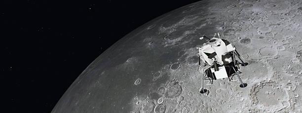 lunar module near the moon - mondlandefähre stock-fotos und bilder