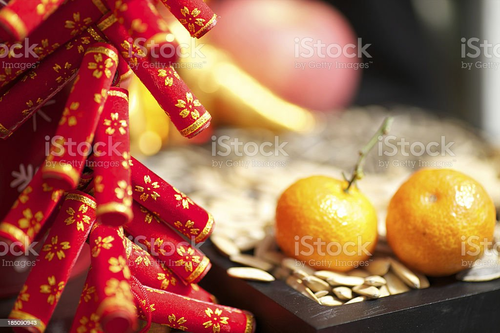 Lunar New Year decorations and food stock photo