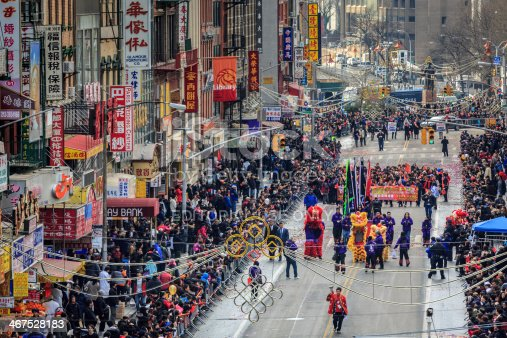 New York, UNited States - February 2, 2014: Lunar New Year Festival celebrated in Manhattan's Chinatown. The crowd watches the parade of tradionational chinese costumes. 2014 is also called the Year of the Horse in the Chinese culture.