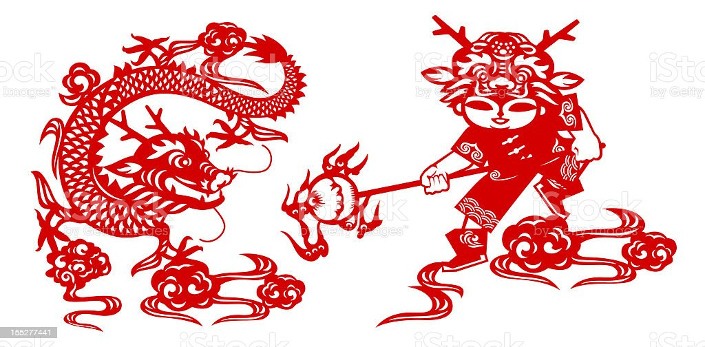 Lunar New Year of the Dragon (Clipping Path!) royalty-free stock photo