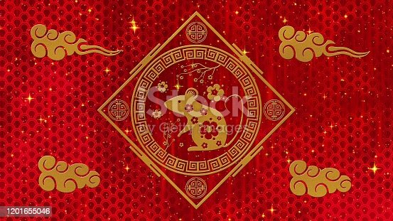 532522827 istock photo Lunar New Year, Spring Festival background with golden rat, sakura, glittering silk dragon pattern. Chinese new year red paper backdrop for holiday event. 3D rendering.Seamless loop 4k 1201655046