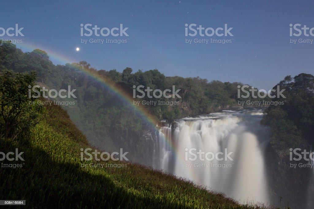 Lunar Rainbow at Victoria Falls stock photo