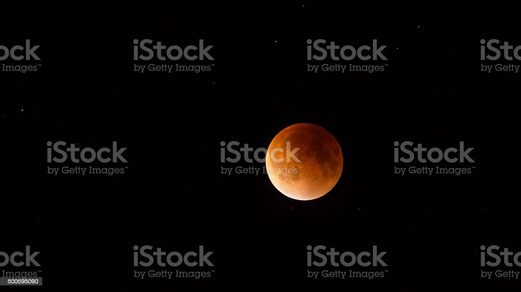 Lunar 'Supermoon' eclipse September 28th 2015 stok fotoğrafı