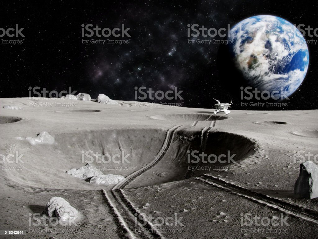 Lunar tractor Traces of the moon rover through a crater on the Moon, the planet earth in the background, 3D render Astronomy Stock Photo