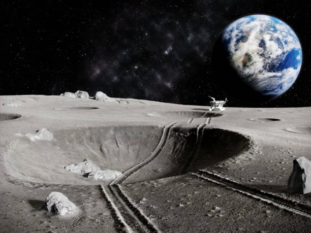 Lunar tractor Traces of the moon rover through a crater on the Moon, the planet earth in the background, 3D render rover stock pictures, royalty-free photos & images