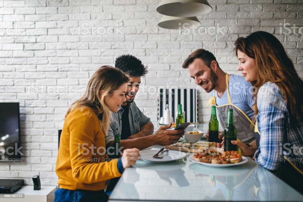Lunch and fun with friends stock photo