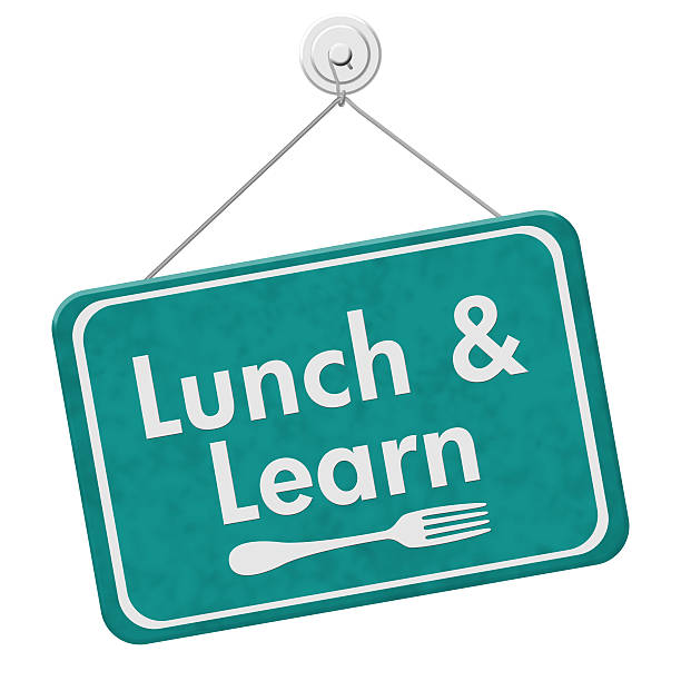 Lunch and Learn Sign stock photo