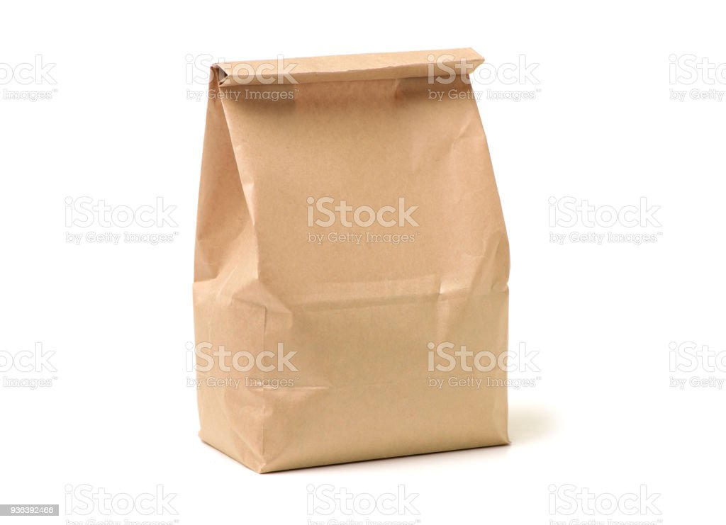 Lunch bag on white background stock photo