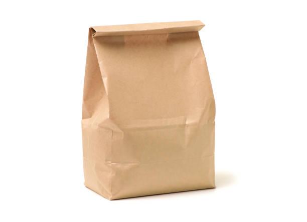 Bolso del almuerzo sobre fondo blanco - foto de stock
