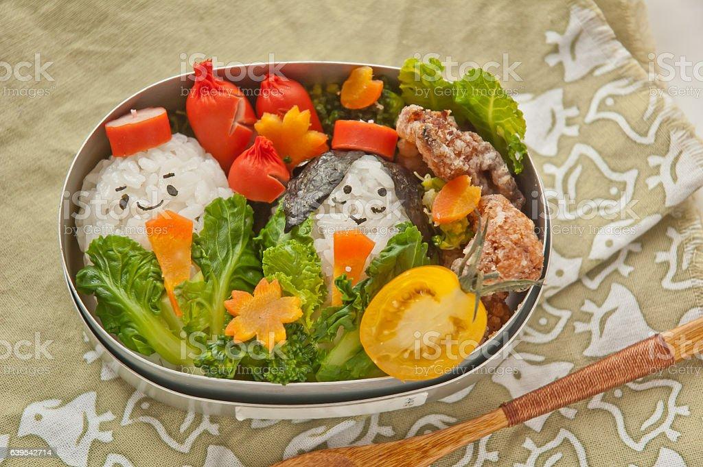 Lunch box of hinamatsuri motif stock photo