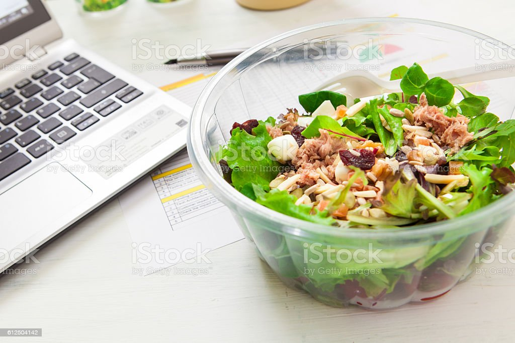 Lunch box on working stock photo
