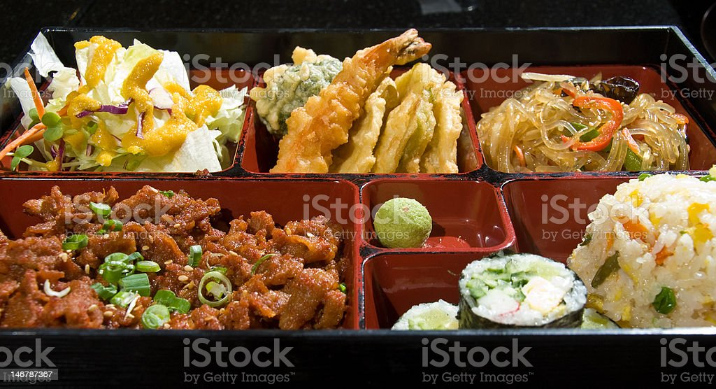Lunch box special with pork royalty-free stock photo