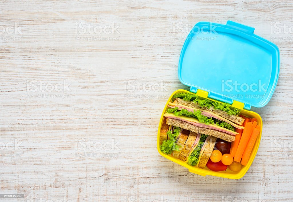 Lunch Box with Food and Copy Space stock photo