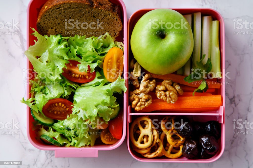 Lunch Box With Salad And Healthy Food For Work And School Stock Photo Download Image Now Istock