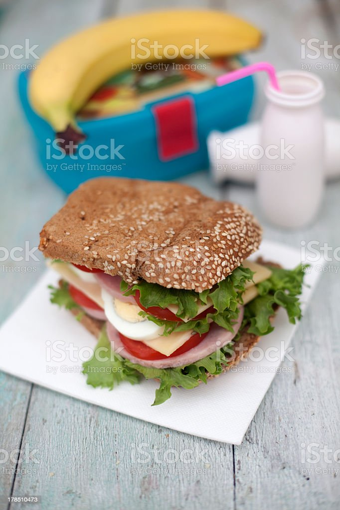 Lunch box with sandwich and banana royalty-free stock photo