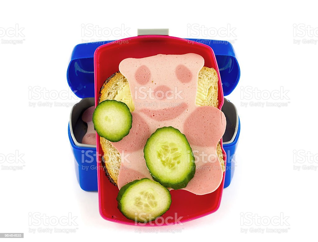 Lunch box with sandwich royalty-free stock photo