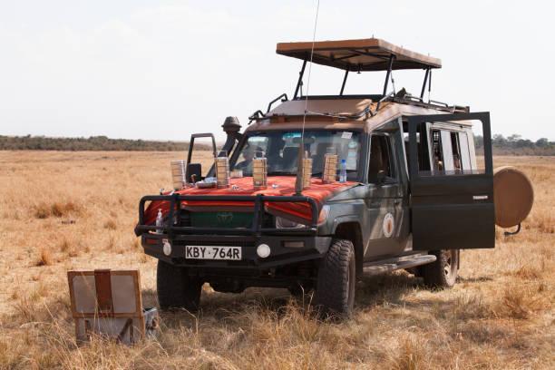 Lunch break after doing safari at Masai Mara stock photo