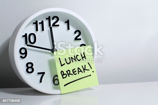Lunch, break, lunch break, time, clock