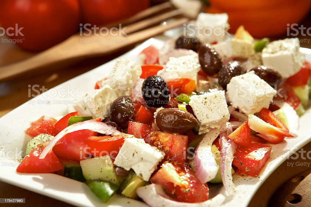 Lunch consisting of a Greek salad stock photo