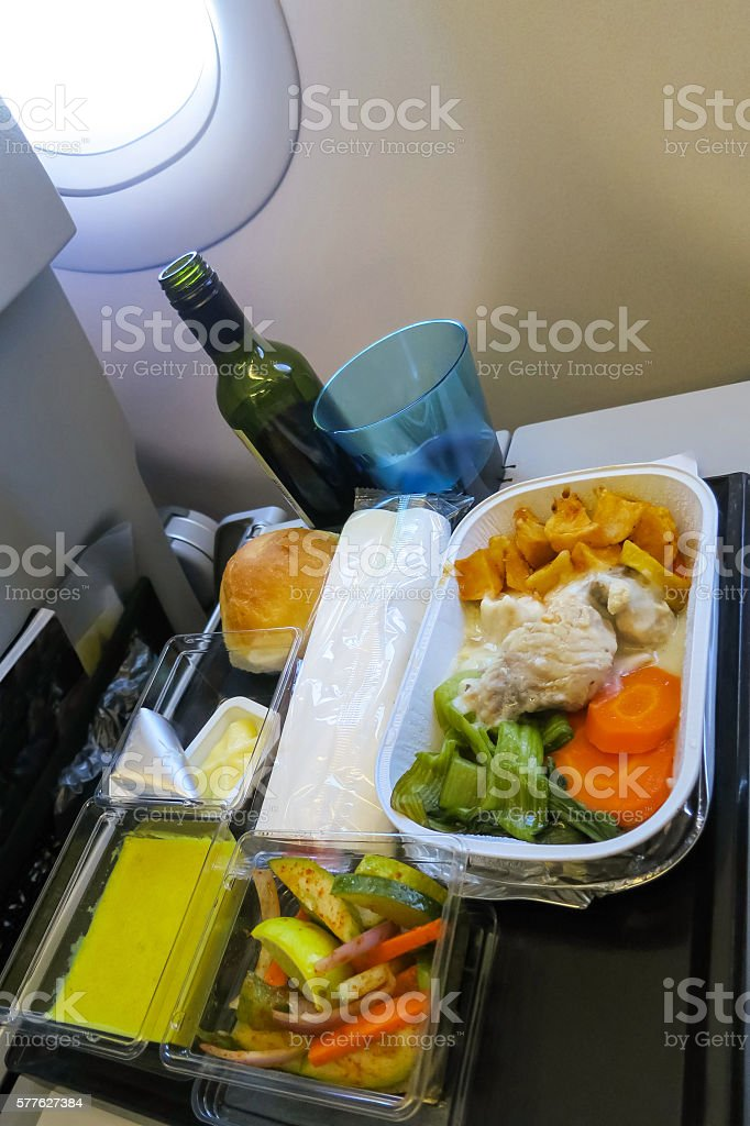 Lunch in a plane stock photo