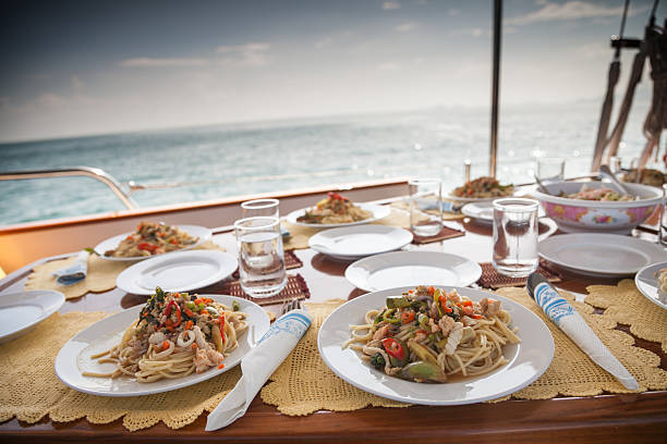 Lunch on a Yacht stock photo