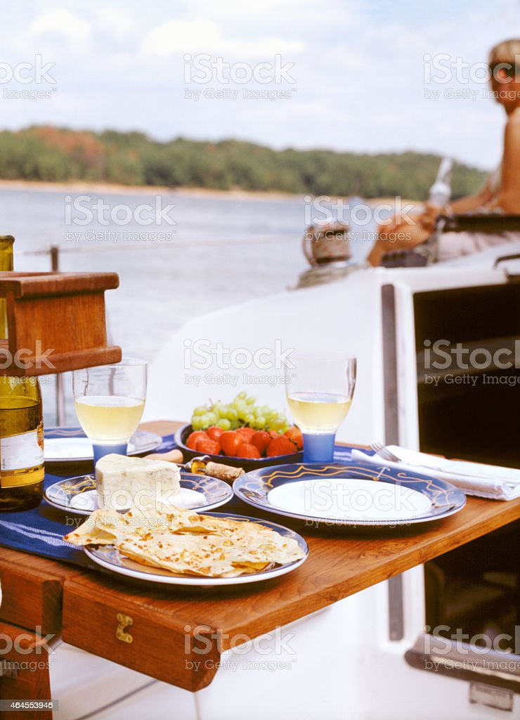 Lunch on Sailboat stock photo