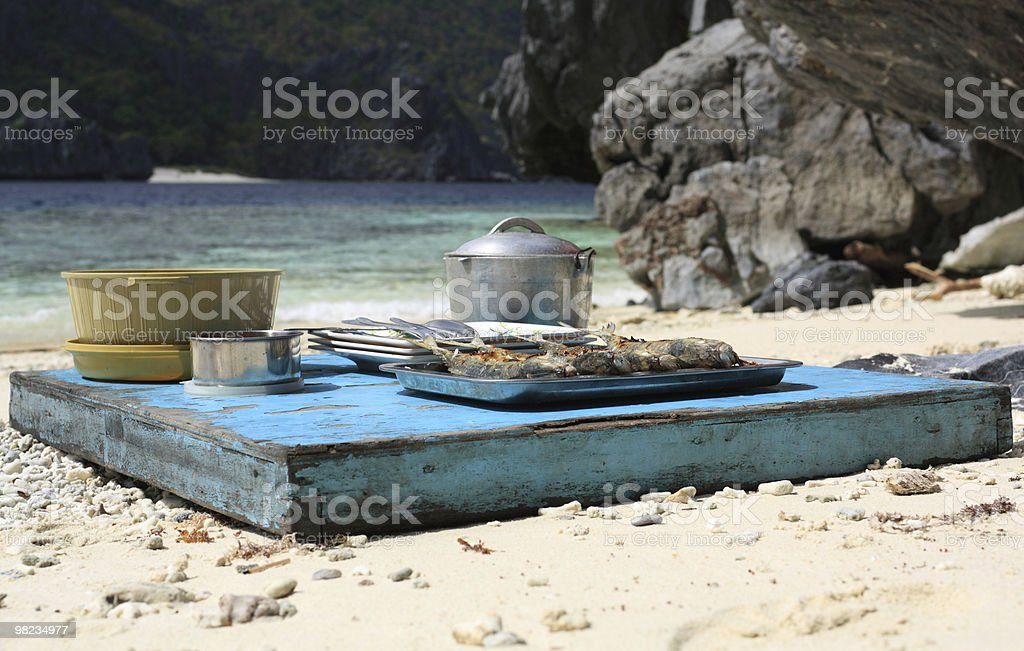 Lunch on the tropical beach royalty-free stock photo