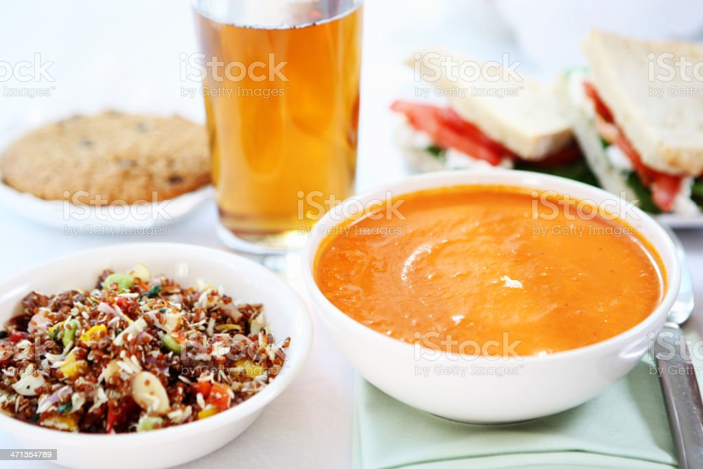 lunch - quinoa salad and sandwich, soup royalty-free stock photo