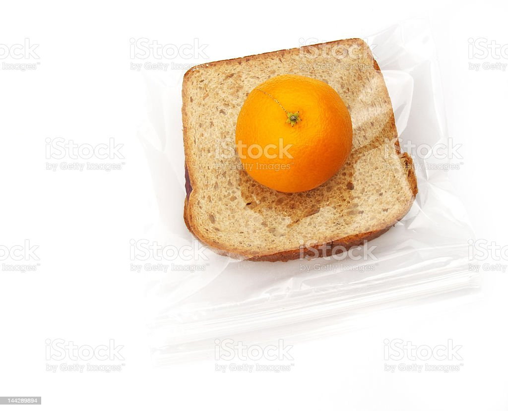 lunch - sandwich and orange stock photo