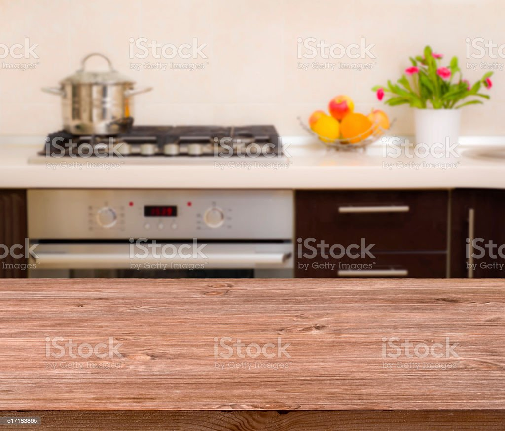 Lunch table on modern kitchen interior background stock photo