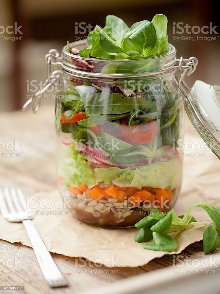 Lunch 'to go' in glass jar stock photo