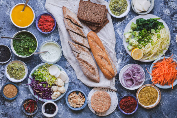 Lunch vegan plant based food stock photo