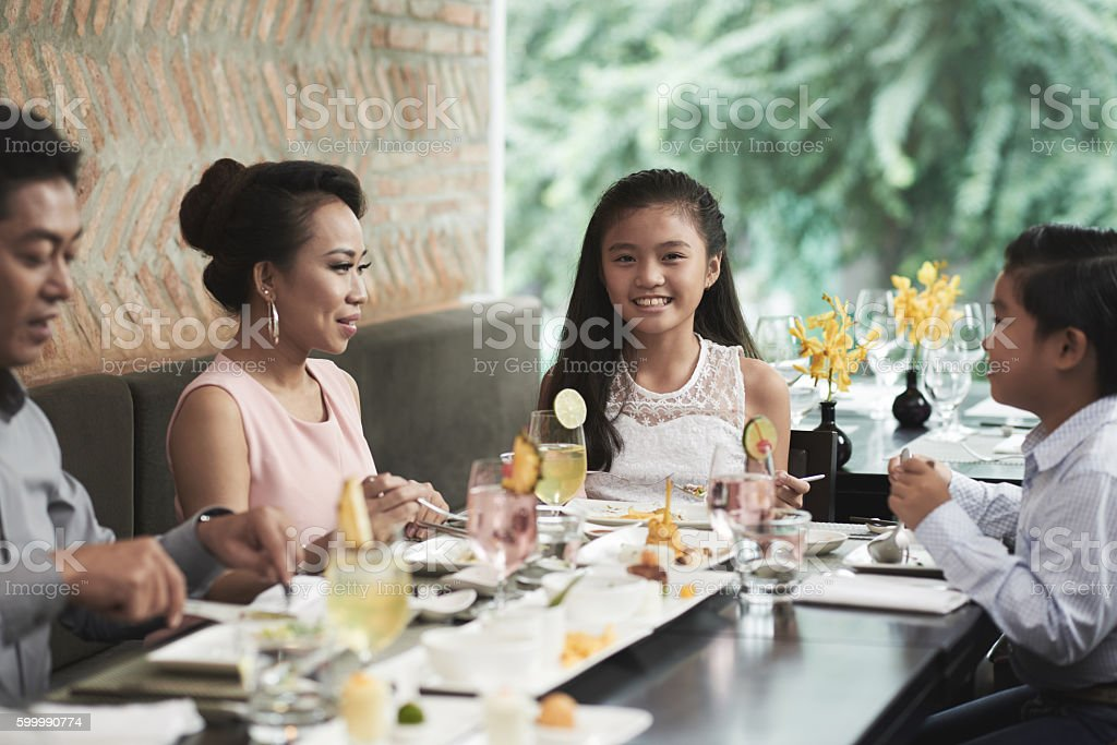 Lunch with family stock photo
