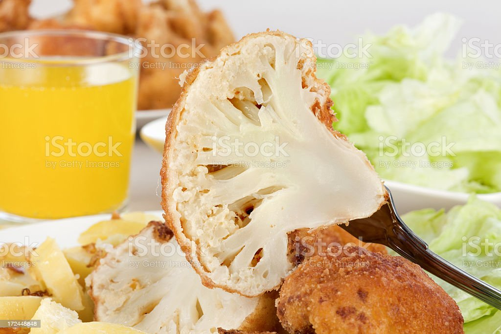 Lunch with fried cauliflower royalty-free stock photo