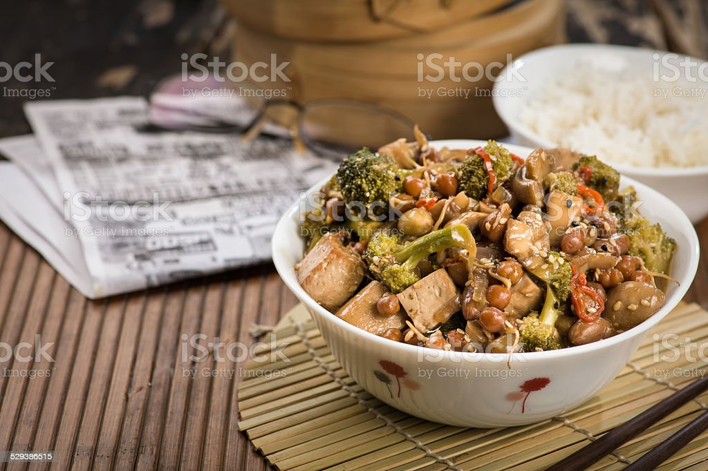 Lunch with stir fried vegetables. With copy space stock photo