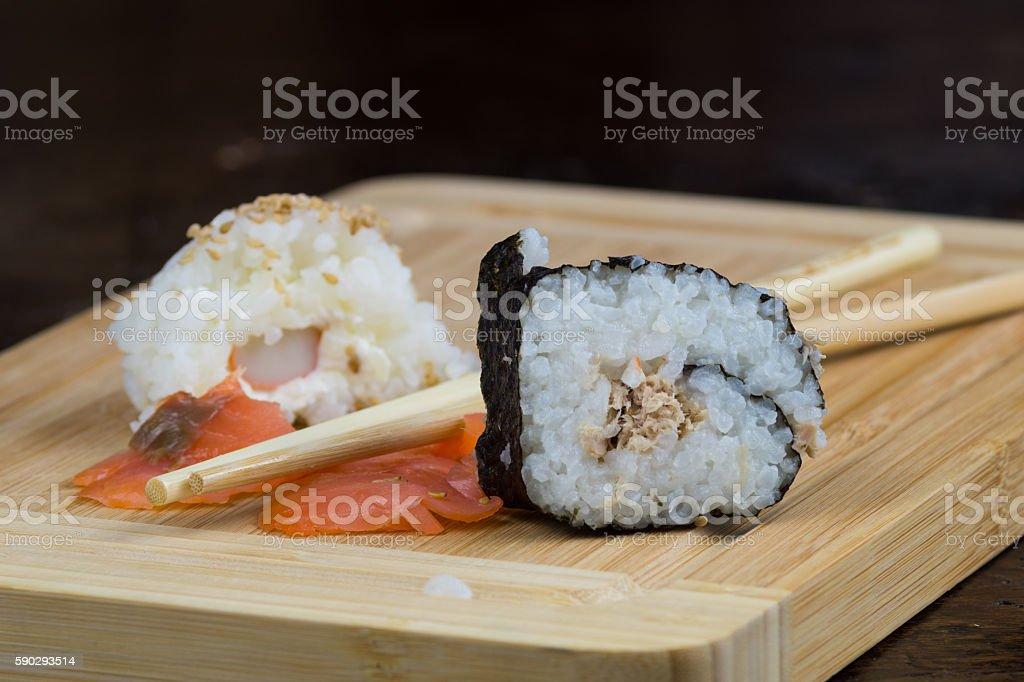 lunch with sushi, Japanese plate of seafood royaltyfri bildbanksbilder