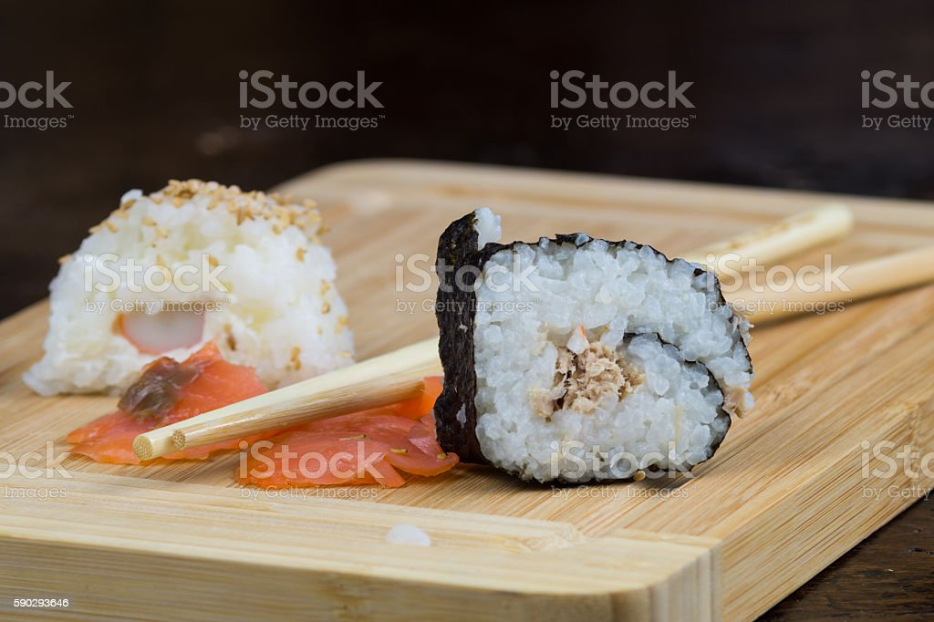 lunch with sushi, Japanese plate of seafood Стоковые фото Стоковая фотография