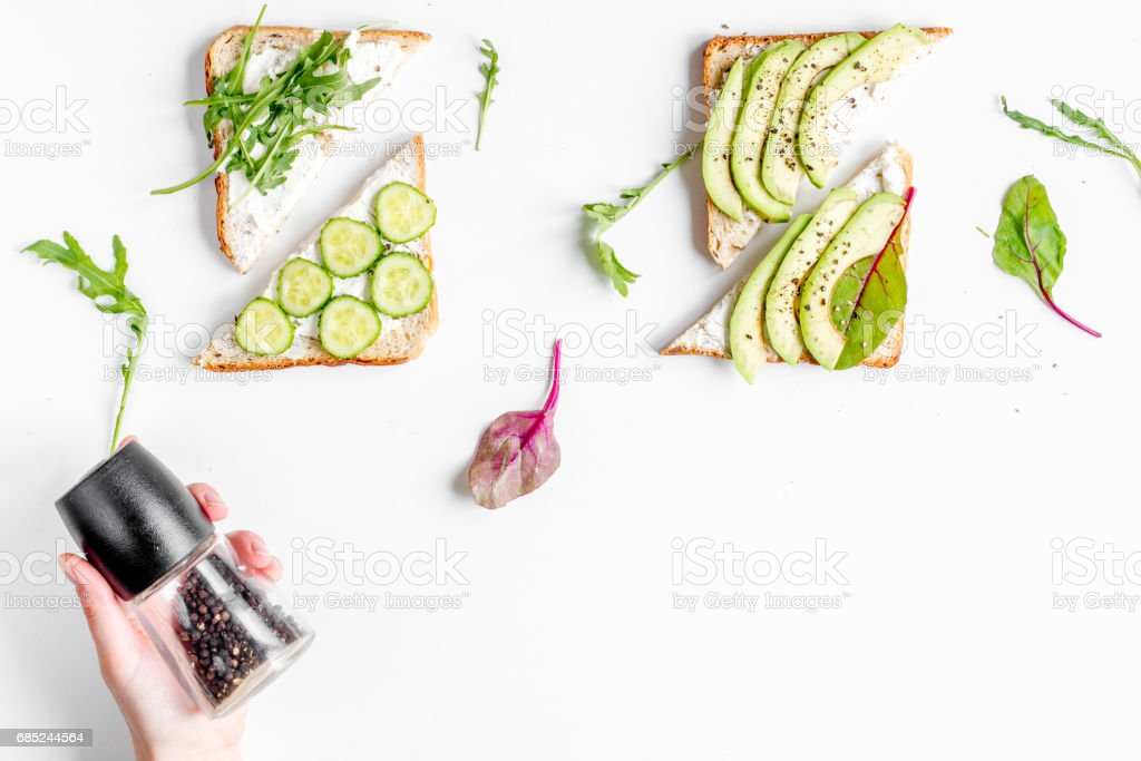 lunch with triangle sandwiches on white table background top view mockup royalty-free stock photo