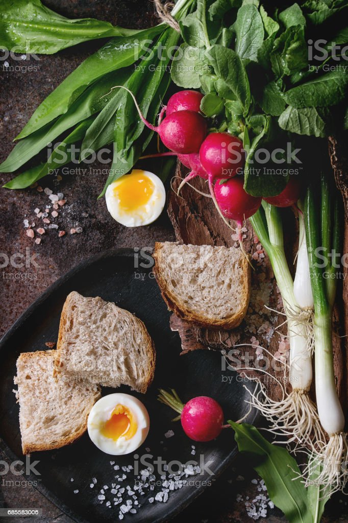 Lunch with vegetables and bread royalty-free stock photo