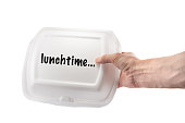 lunchbox for food in hand isolated on white background, mock up, copyspace