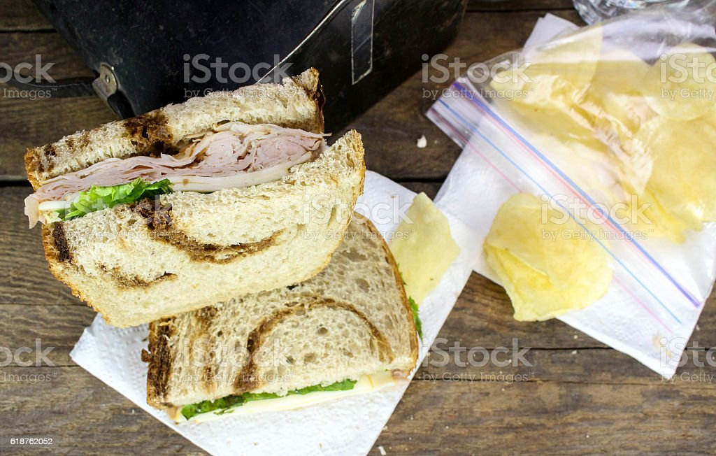 Lunchbox Sandwich And Potato Chips stock photo