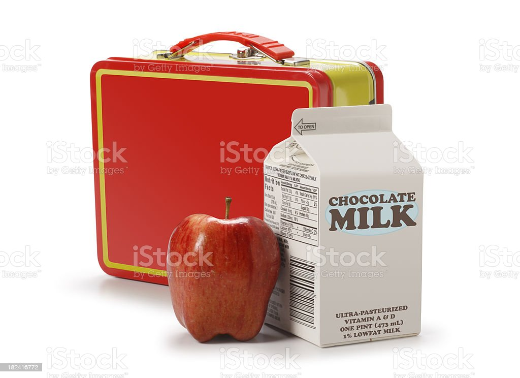 Lunchbox with milk carton and apple stock photo