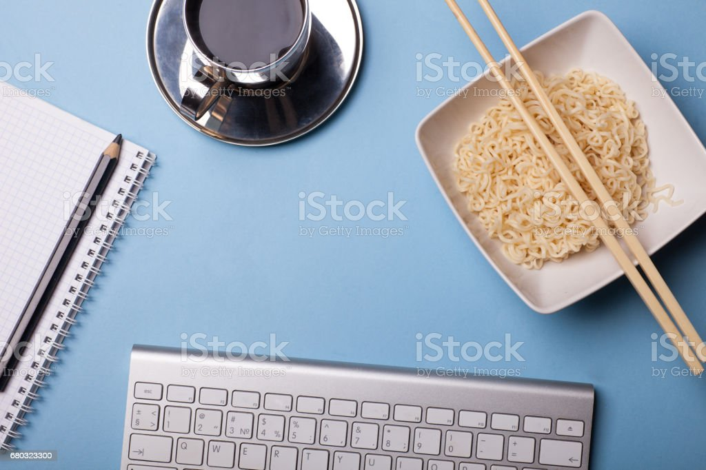 lunck in office, noodle, coffe on work table royalty-free stock photo