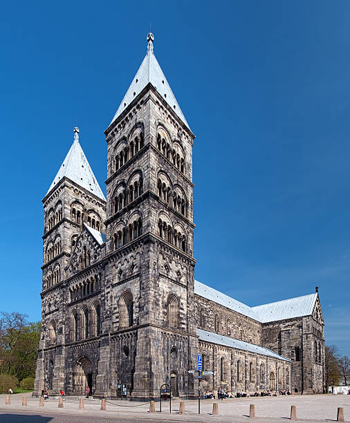 lund cathedral, sweden - lund stock photos and pictures