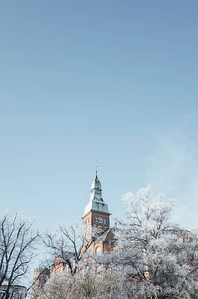 lund, sweden: copper-roofed spire and trees on frosty morning - lund stock photos and pictures