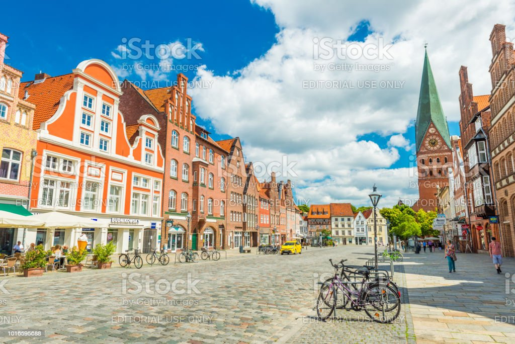 Luneburg, Germany: View of the city center with historic architecture. One of the most popular city in Northern Germany Luneburg (Lüneburg) - July 2018, Lower Saxony, Germany: View of the city center with historic architecture. One of the most popular city in Northern Germany Ancient Stock Photo