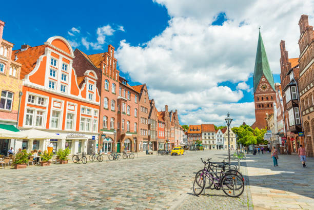 Luneburg, Germany: View of the city center with historic architecture. One of the most popular city in Northern Germany Luneburg (Lüneburg) - July 2018, Lower Saxony, Germany: View of the city center with historic architecture. One of the most popular city in Northern Germany lüneburg stock pictures, royalty-free photos & images