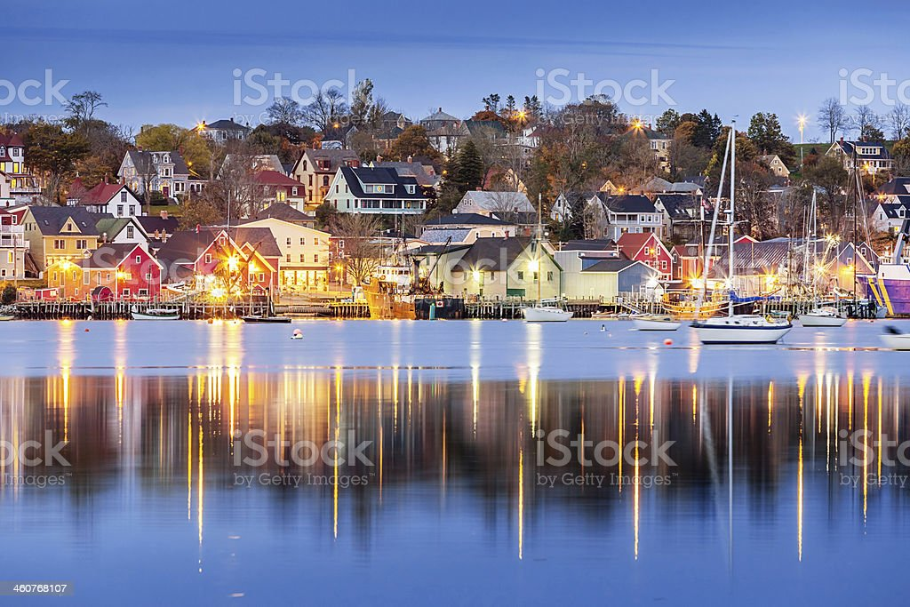 Lunenburg Waterfront at Night, Canada stock photo