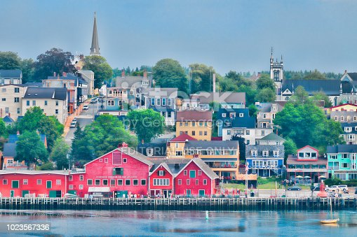 Lunenburg, Nova Scotia, Canada - July 18, 2018: Lunenburg waterfront from across the harbor in Lunenburg
