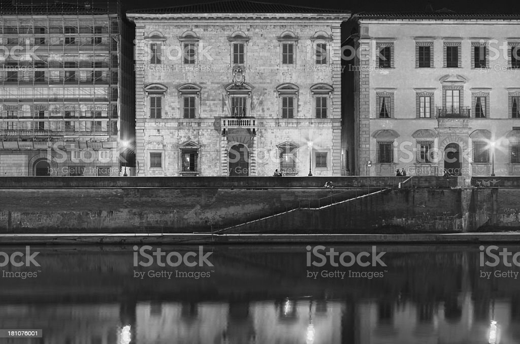 Lungarno Mediceo by night stock photo
